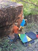 Rock Climbing Photo: Sean working the problem.