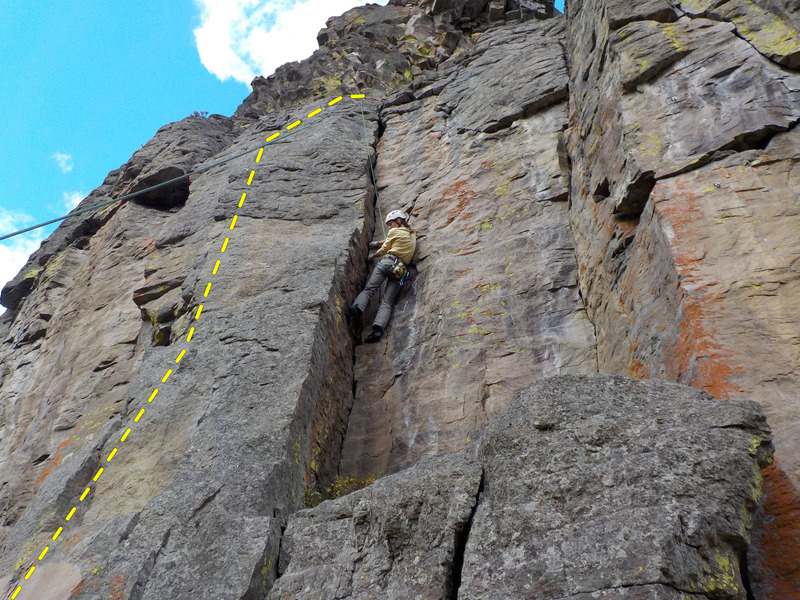 Rock Climbing Photo: Children of Lessor Chaos climbs the face left of F...