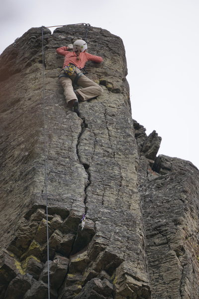 Trish topping out on the hand crack