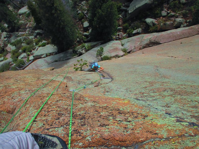 Kat A. gets into the business end of Astro Turkey (5.11, PG-13) on Sunshine Wall.