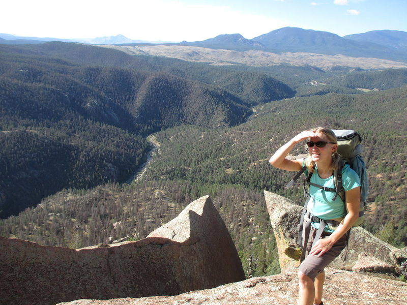 Rock Climbing Photo: Kat A. scoping out the climbing from the base of S...