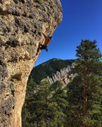 Nick Flores pulling through the crux on Lost At Sea