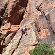 Rock Climbing Photo:  Renee Nall climbs through the beginning face move...