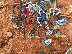 Rock Climbing Photo: The rack for Superette minus QDs.