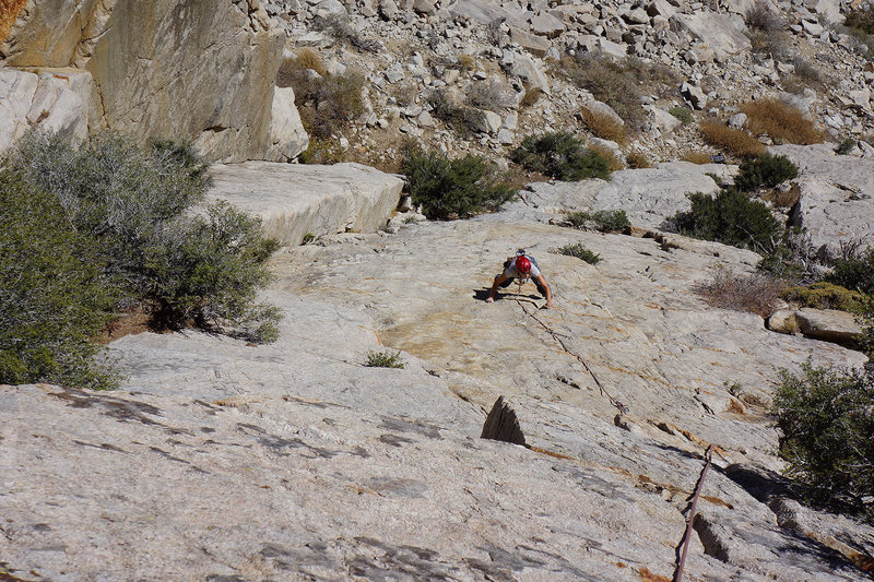 Climbing the golden granite right variation of 'Solemates'