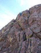 Rock Climbing Photo: Val on the FFA of Lowly Worm