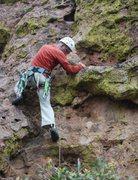 Rock Climbing Photo: John placing his foot carefully for the high secon...