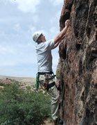 Rock Climbing Photo: Eli starting up the face moves on Three Monkeys