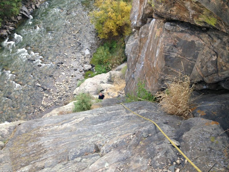 Looking down the ramp to the base of Low Wire Crag.