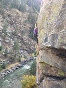 Rock Climbing Photo: Finishing the last hard bit of Fly Low.... Great m...