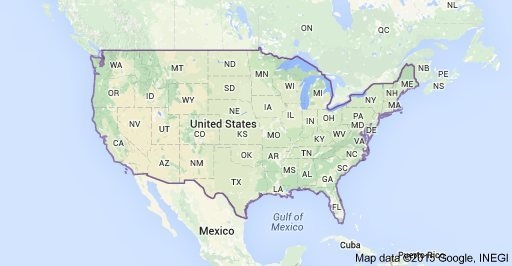 US map courtesy of google