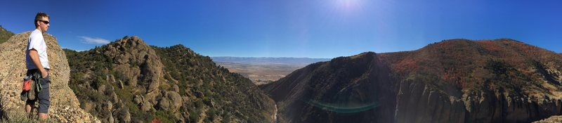 Rock Climbing Photo: Pano with Cole S. on the top of Heart Rock