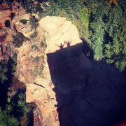 Rock Climbing Photo: Our shadows projecting on to the top of 8 Ball Tow...