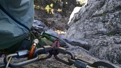 Rock Climbing Photo: Looking through the chains at the top of P2