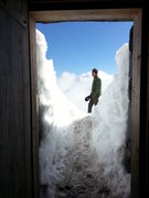 Rock Climbing Photo: Outside public shelter at Camp Muir on Mt. Rainier...