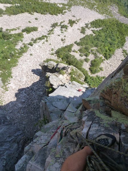 Looking down from a belay above the 5.8 variation pitch.