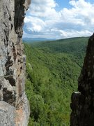 Rock Climbing Photo: Looking out at the valley from midway up the chimn...
