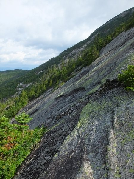 Looking north from about midway up the slide. Lots of cool green lichen on the slab.
