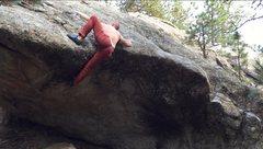 Rock Climbing Photo: John on the hard ending mantle variation