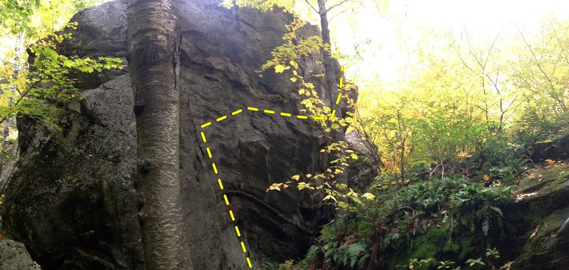 Rock Climbing Photo: back side of blackjack boulder and the line of 3 o...