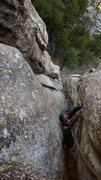 Rock Climbing Photo: Top of pitch 1, Charles looking pooped after 200 f...
