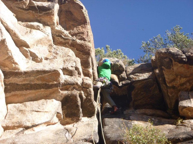Rock Climbing Photo: Patrick Wilson in the crux wide section of P3, Kin...