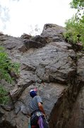 Rock Climbing Photo: The belay looking up on Buckets of Rain, Canal Zon...