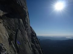 Rock Climbing Photo: Climber scampering up the slabs at the last pitch....