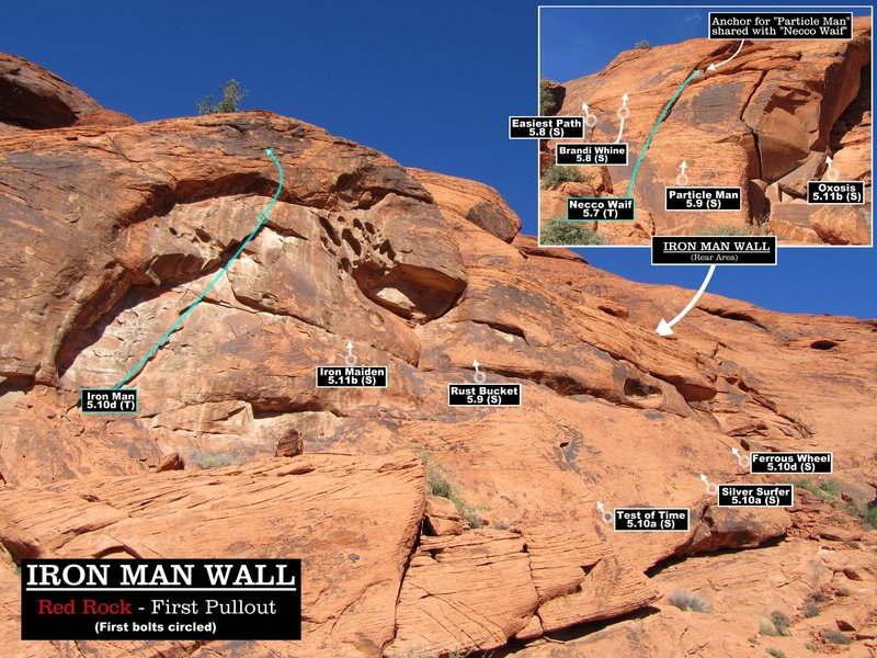 Routes at the Iron Man Wall. First bolts circled. Cheers.(Best viewed at full size)