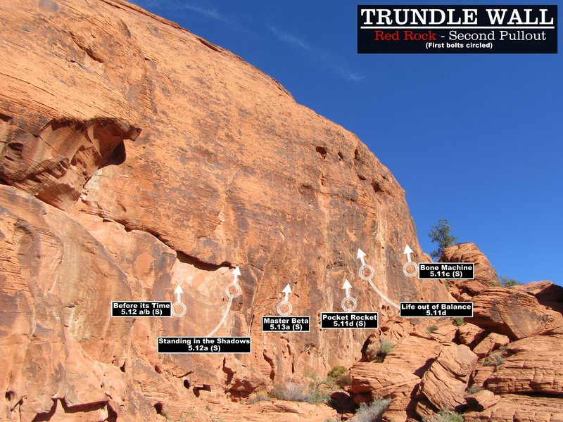 Rock Climbing Photo: Routes at the Trundle Wall. First Bolts Circled. C...