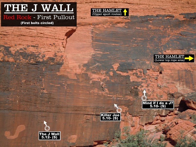Routes at the J wall. First bolts circled.Cheers. (Best viewed at full size)