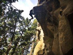 Rock Climbing Photo: Charlie pulling the lip on Firestorm