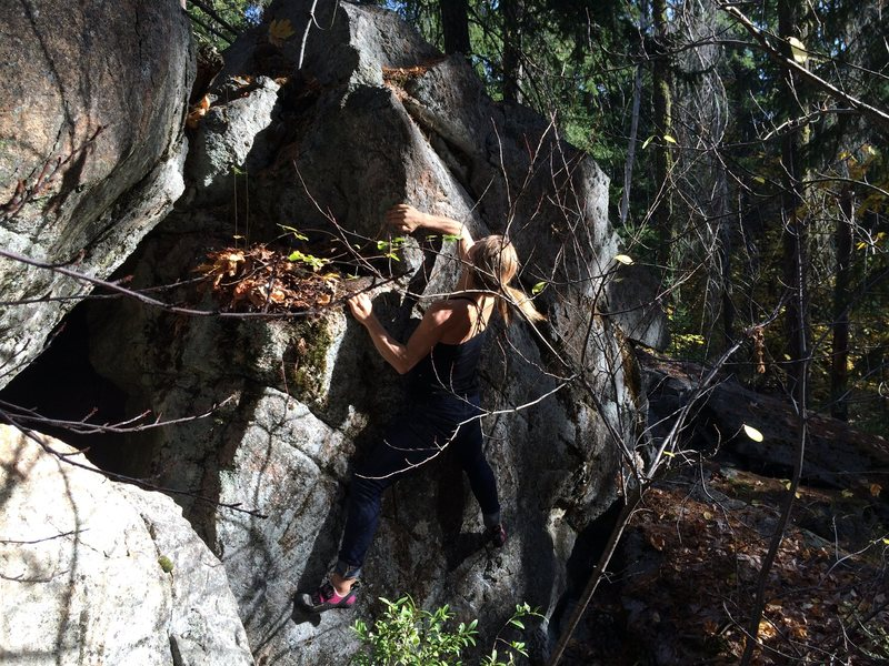 Rock Climbing Photo: Getting above the crimps on Peas and Carrots.