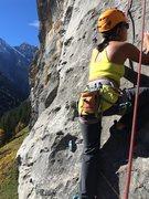 Rock Climbing Photo: Ellaine Fox at the start of Die Sau Die. Notice th...