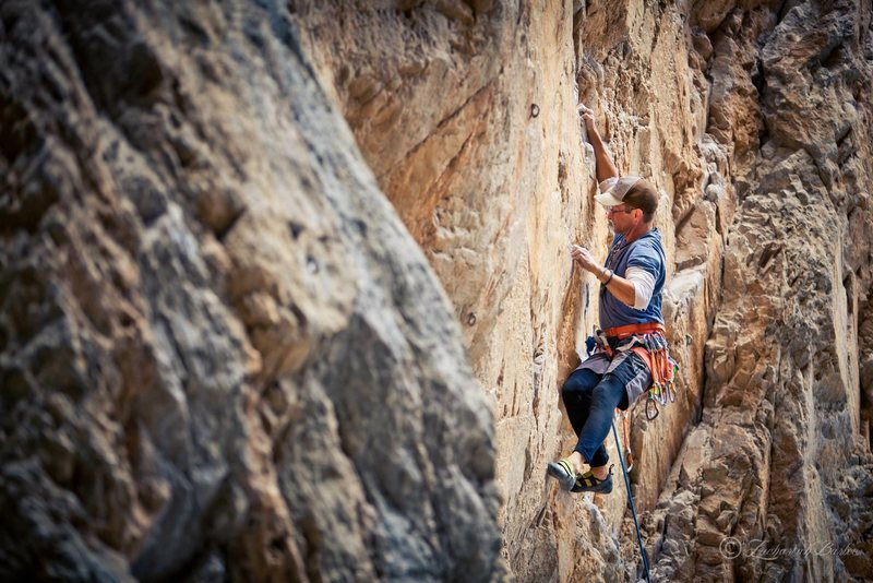 Great Train Robbery 5.11b<br> Seen here: Brian Merrill <br> Photo Credit: Zack Barbee