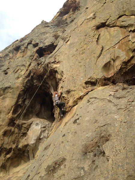 Rock Climbing Photo: Getting under first bolt