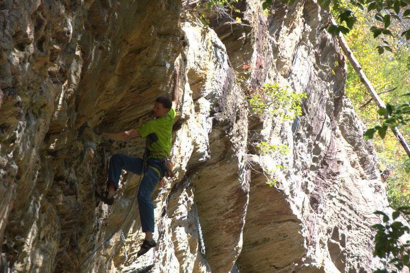 Rock Climbing Photo: Making the moves at the bulge. October 2015.