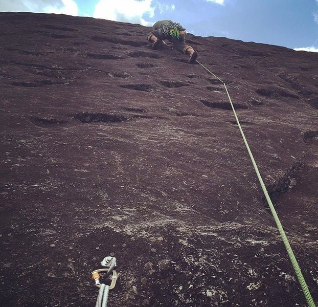 Me leading the eyebrow encrusted 3P of North By Northwest. Plenty of bolts. Fun route for multipitch practice.