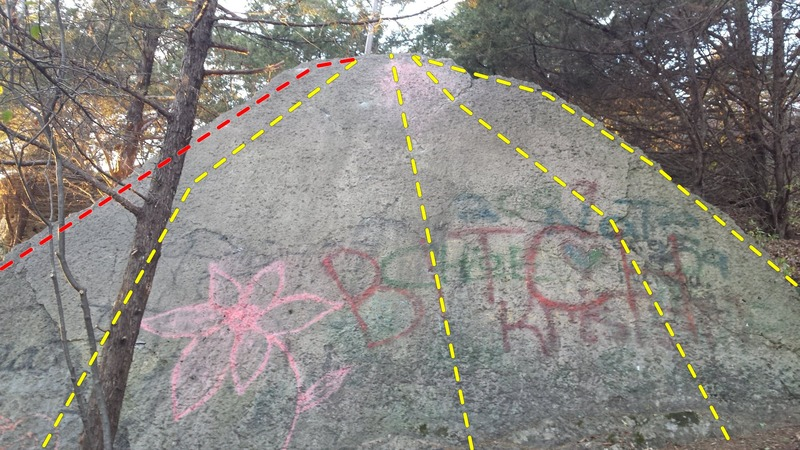 Rock Climbing Photo: The Bitch Slab with Left Arete in red.