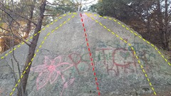 Rock Climbing Photo: The Bitch Slab with Slip and Slide in red.