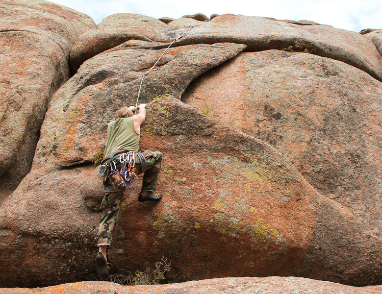 Rock Climbing Photo: Squeak moving onto Bunny Flake, 31 August, 2015.