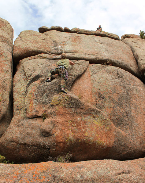 """Greg Handelman, belayed by James Mullins, on """"The Bunny."""" 31 August, 2015."""