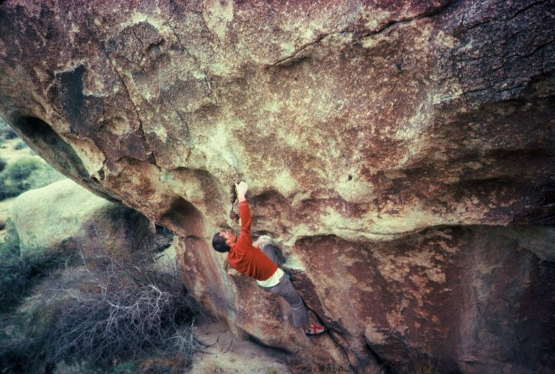 Rock Climbing Photo:    Starting up the problem,... @ 1985