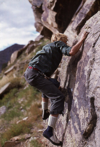 Eric Ming bouldering at Morrison circa 1976 sporting some brand new EBs!
