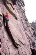 Rock Climbing Photo: Eric Ming On 1st pitch of Tagger circa 1976/77.