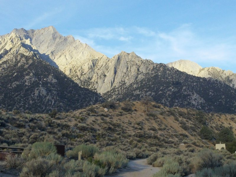Lone Pine Peak as seen from Lone Pine Campground. The North Ridge is obvious.