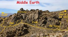 Rock Climbing Photo: View of Middle Earth Valley looking west from Side...