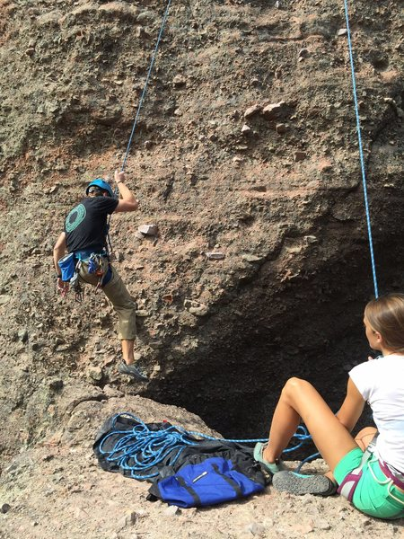 Rappelling off of The Direct Route