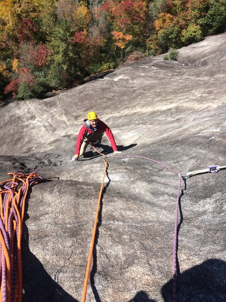 Mike at the second bolt on the second pitch.  Friction Addiction, Laurel Knob, NC.