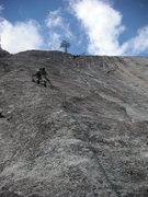 Rock Climbing Photo: Adam leading the first pitch. There is one rusty b...